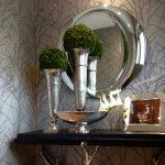 Pochoir, paillettes, argent, gris, faux fini, entrée, branches, branchages, contemporain, design, décoration, décor