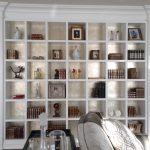 transitionnel, design, décoration, décor, bibliothèque, feuille d'argent, patine, dorure