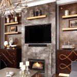 contemporain, design, décoration, décor, dorure, étagères, feuille d'or, patine, murs accents, texture, brun, or, doré, cadre miroir
