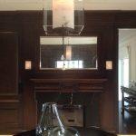 transitionnel, design, décoration, décor, miroir, églomisé, bois, appliques, cristal, panneaux, raffiné, brun, foyer