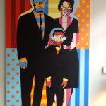 Tableau, sur mesure, noir, rouge, turquoise, bleu, jaune, orange, famille, art contemporain, design d'intérieur, décoration, couleurs vibrantes, portrait de famille