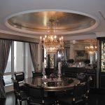 traditionnel, design, décoration, décor, plafond, feuille d'argent, salle à manger, dorure